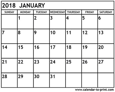 printable monthly calendar for january 2018 january 2018 printable calendar printable calendar monthly