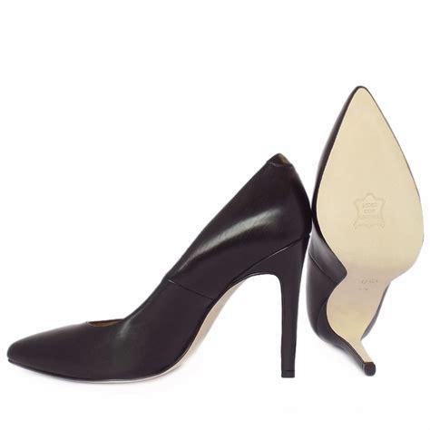 kaiser indigo black leather high heel shoes