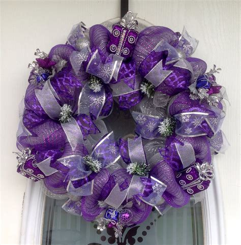 deco mesh wreath 22 quot purple deco mesh presents wreath wreathes