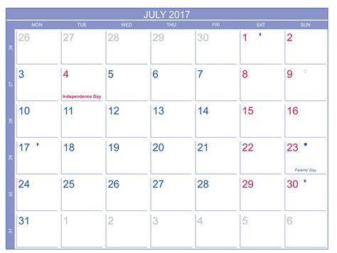 2017 Scheduling Calendar July 2017 Moon Phase Calendar Schedule Free Printable