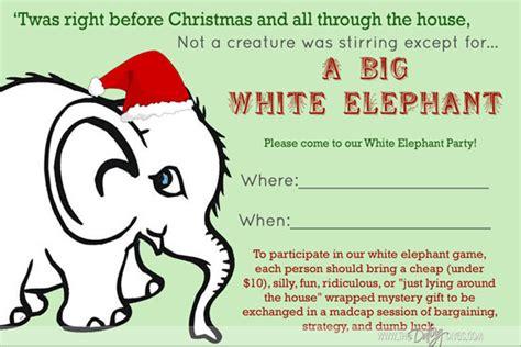 White Elephant Party Free White Elephant Invitation Template