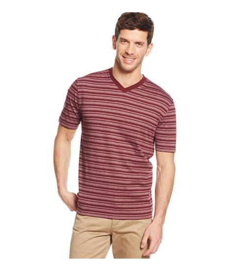 Tshirt Ouch Tees M G ashford mens striped v neck graphic t shirt mens