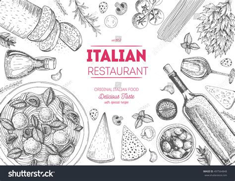 italian cuisine top view frame set stock vector 497564848