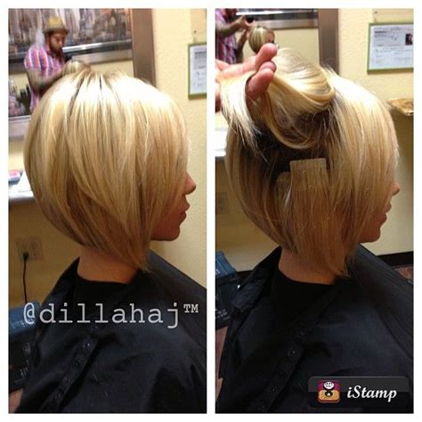 hairstyles layered with tape in extensons stacked bob haircut bob haircuts love it pinterest