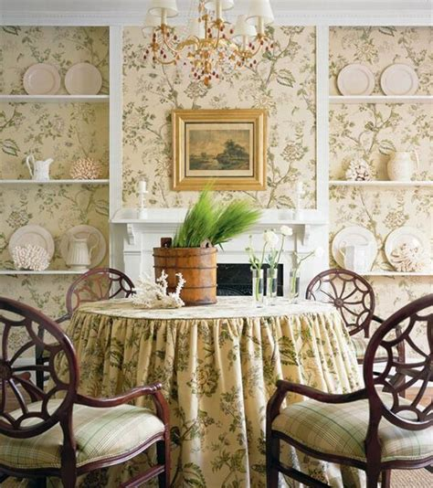 design interior french country bright brown floral wall