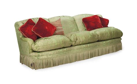 Silk Sofa by A Green Silk Brocade Upholstered Three Seat Sofa Modern