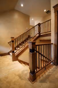 Staircase Banister Designs Wood Railing With Wrought Iron Balusters Traditional
