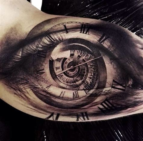 clock face tattoos designs eye spiraling clock on guys bicep best design ideas