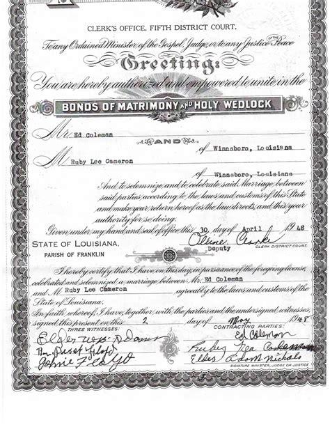 Louisiana Marriage Records Family History A Labor Of Franklin Parish Louisiana