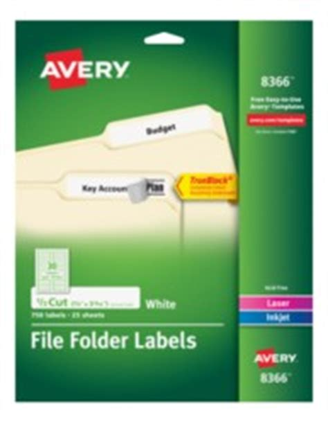 Avery Permanent White File Folder Labels 8366 25 Sheets Avery File Label Template 8366