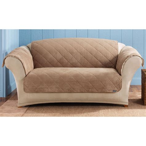 furniture covers for loveseats sure fit 174 reversible suede sherpa loveseat pet cover