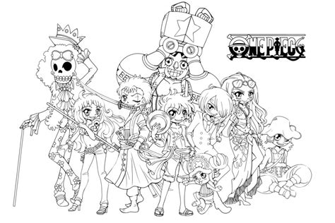 straw hat coloring page the straw hat crew one piece mega lineart by yampuff