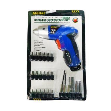 jual daily deals mollar cordless drill set mesin bor biru 4 8 v 24 pcs mata bor dan obeng