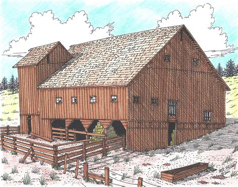 hay barn drawing by bill friday