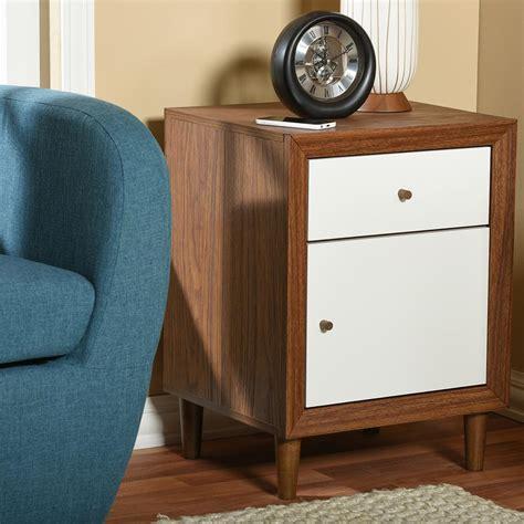 White And Brown Nightstand Baxton Studio Harlow 1 Drawer White And Medium Brown Wood