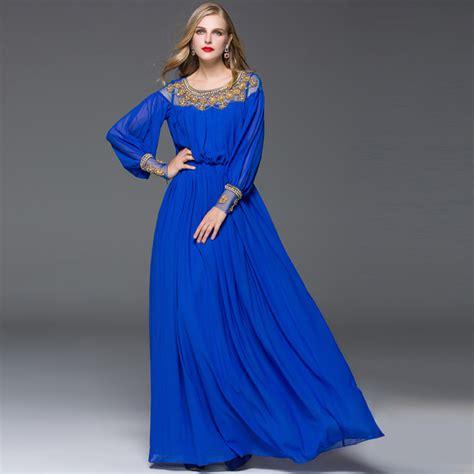 2017 new style summer sleeve maxi dress vintage beading black blue gauze mesh