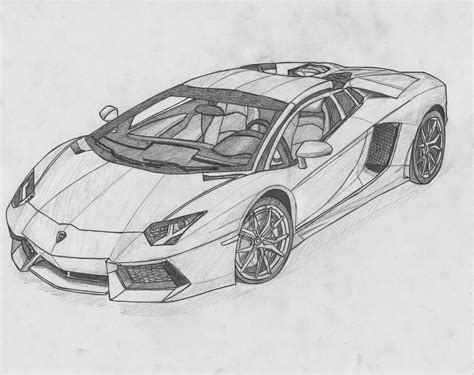 lamborghini aventador drawing outline vonmalegowski april 2014