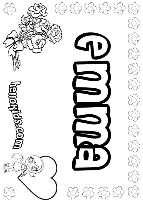 coloring pages of the name emma girls name coloring pages emma girly name to color