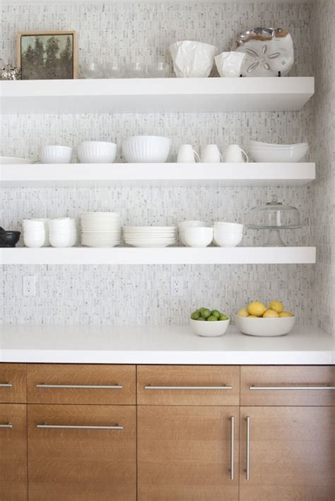 white kitchen shelves chunky floating shelves design ideas