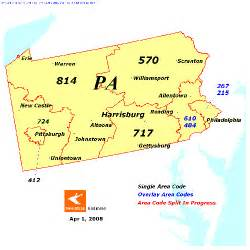 map of area codes pennsylvania map area codes