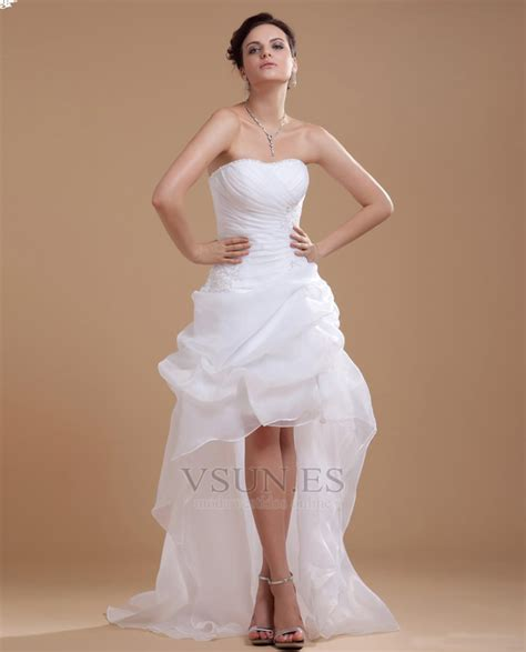 Vestido de novia informales Asimètrico Falta Blanco