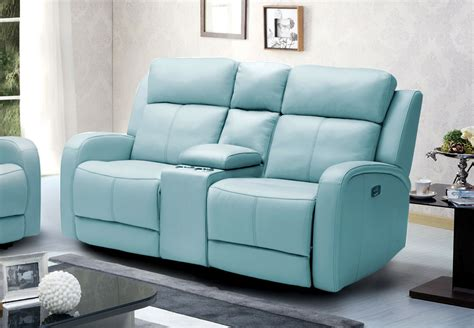 milano blue leather reclining sofa milano leather recliner sofa