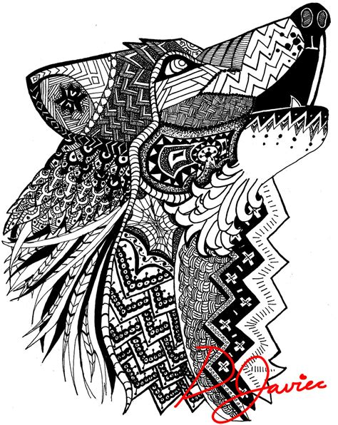 Wolf Zentangle Outline by Wolf Zentangle By Beaniebearr On Deviantart