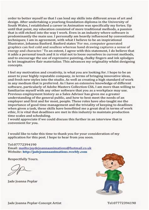 cover letter animation cover letter for 3d animation search jb cover