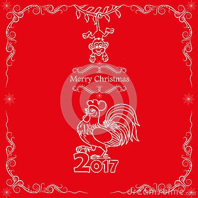 new year rooster and monkey card design 2017 new year of the