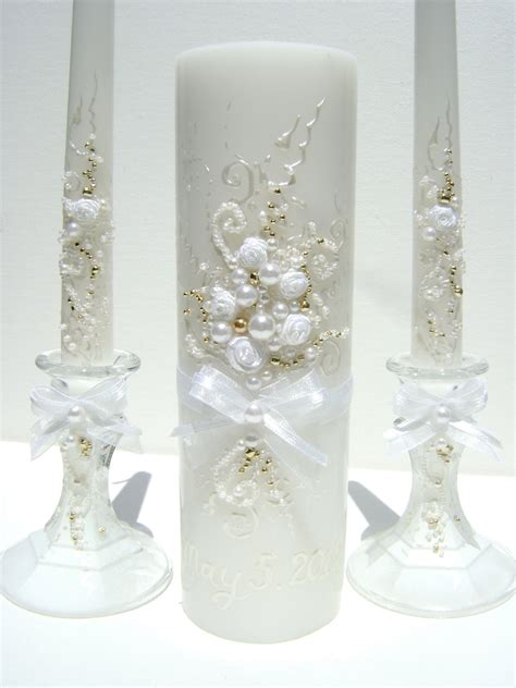 wedding candles wedding unity candle set decorated with an original