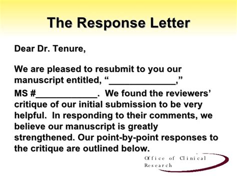 revise and resubmit cover letter responding to reviewer s comments