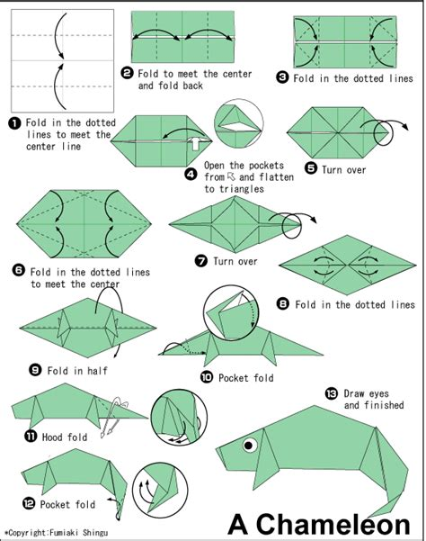 Origami Lizard Diagram - chameleon easy origami for