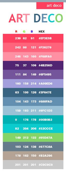 deco colors deco color schemes color combinations color palettes for print cmyk and web rgb html