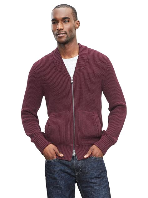 Jaket Sweater Sour banana republic modern ribbed sweater jacket in purple for