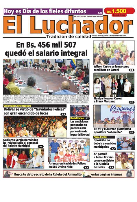 sueldo integral diario en bogota 02 11 2017 by diario luchador issuu