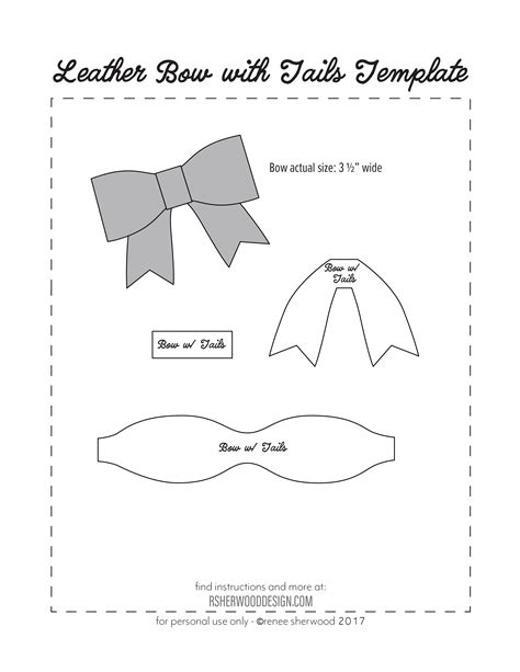 template of a bow free no sew leather or felt bow template at www