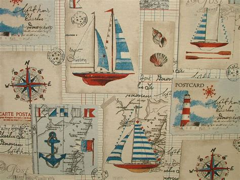 Nautical Upholstery Fabric by 1m Nautical Seaside Boat Linen Look Curtain