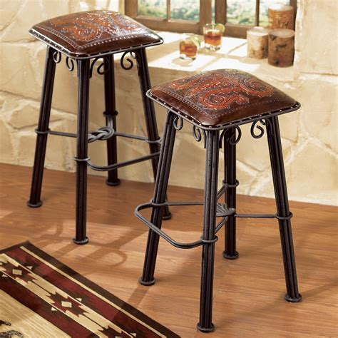 Western Leather Bar Stools by Western Furniture Iron Barstool Tooled Leather Seat Lone