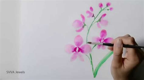 how to paint orchid flowers using watercolor