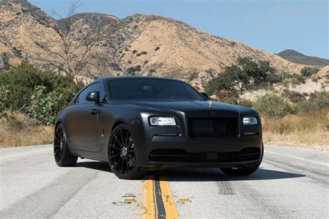 roll royce wraith matte threatening look of custom all black matte rolls royce