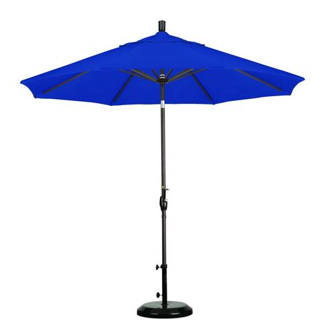 Blue Patio Umbrella California Umbrella 9 Ft Aluminum Push Tilt Patio Umbrella In Pacific Blue Olefin Shop Your