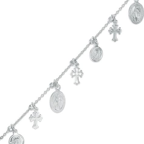 religious charms bracelet in sterling silver 7 25