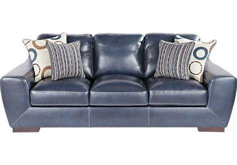 cobalt blue leather sofa shop for a cindy crawford home boulevard west cobalt