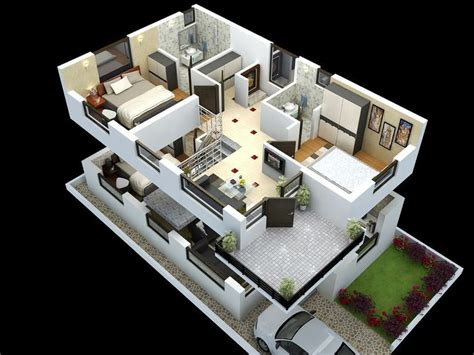 cut model of duplex house plan interior design click