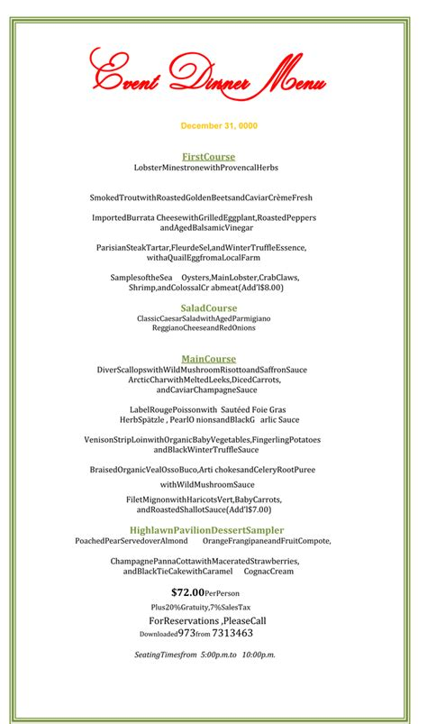 dinner menu template formal dinner menu template sle marketing