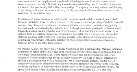 Section 35 Regulatory Requirements For Credit Unions by Keith Leggett S Credit Union Mcwatters To Cfpb