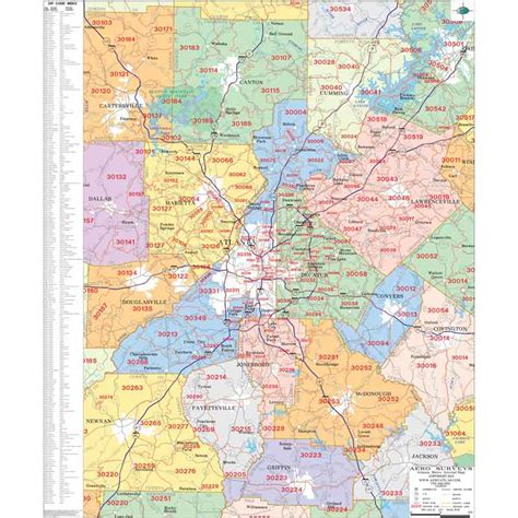 city of atlanta zip code map atlanta georgia wall maps zip code maps aero surveys