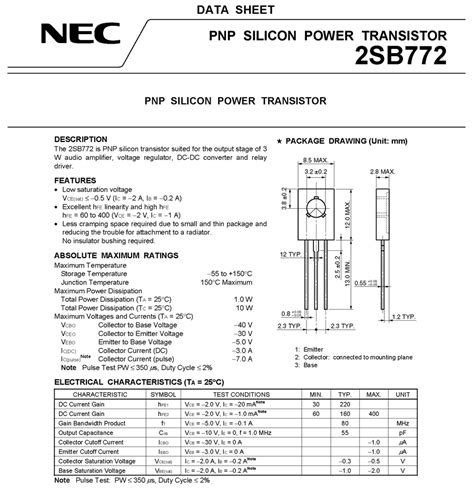 transistor b772 pinout transistor b772 nec 28 images b772 hi sincerity pnp epitaxial planar transistor 5 pcs power