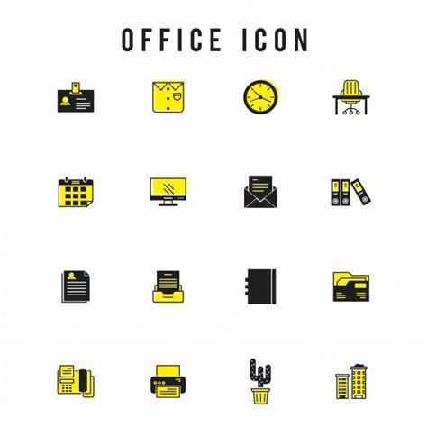 icone ufficio ufficio set di icone giallo scaricare vettori gratis