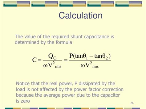 capacitor power dissipation equation power factor
